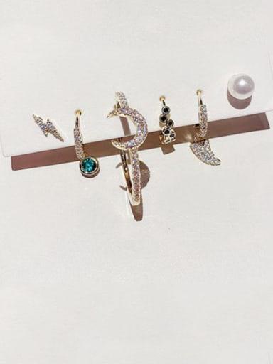 Brass Cubic Zirconia Moon Dainty Huggie Earring