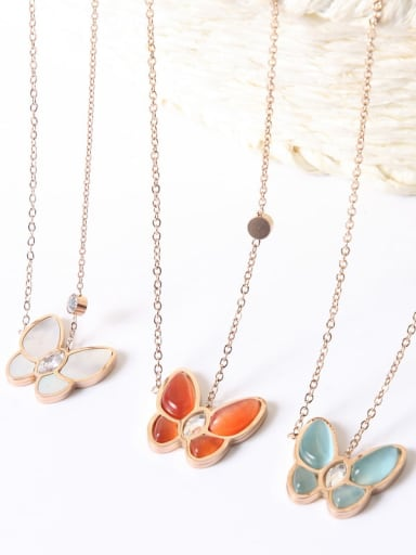Titanium Shell Butterfly Trend Multiple color Necklace