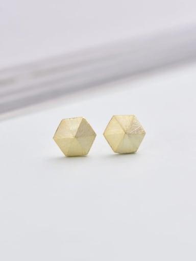 Gold 925 Sterling Silver Geometric Minimalist 6mm * 6mm Stud Earring