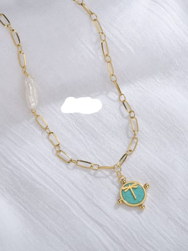 Light blue Stainless steel Shell Frog Classic Necklace