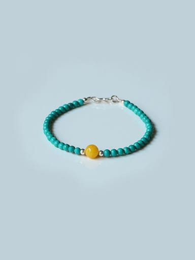 925 Sterling Silver Turquoise Blue Artisan Beaded Bracelet