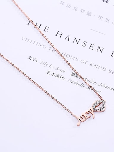 18K rose gold Plated Titanium Rhinestone White Mouth Dainty Necklace