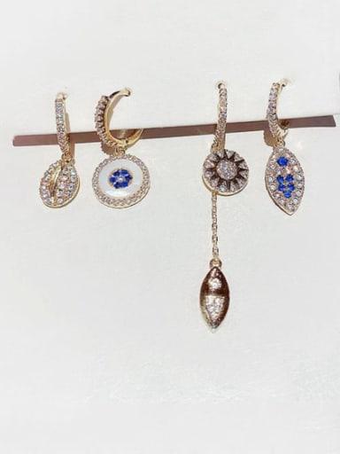 Brass Cubic Zirconia Geometric Dainty Huggie Earring