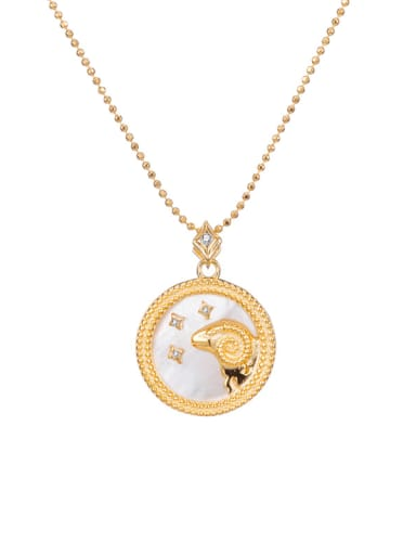 Aries 925 Sterling Silver Shell Constellation Dainty Initials Necklace