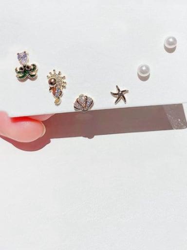 Brass Cubic Zirconia Star Cute Stud Earring