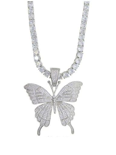 Rhodium Plated Brass 4A Cubic Zirconia Butterfly Hip Hop Cuban Tenns Necklace