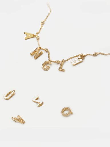 Copper CZ DIY Letter Artisan Initials Charm