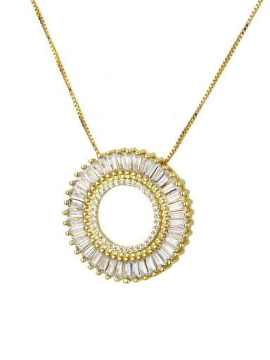 Brass Cubic Zirconia White Round 3 cm Necklace