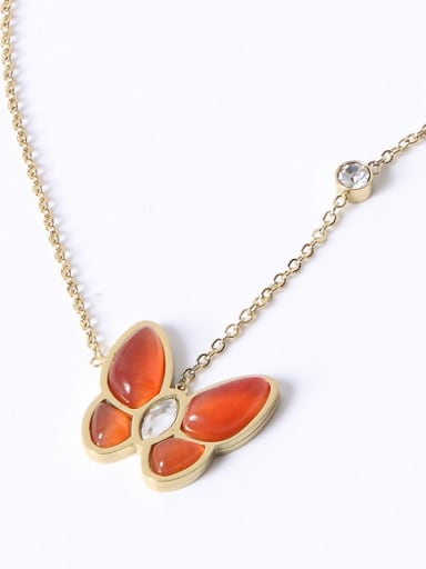 18K Gold Plated, Red Butterfly Titanium Shell Butterfly Trend Multiple color Necklace
