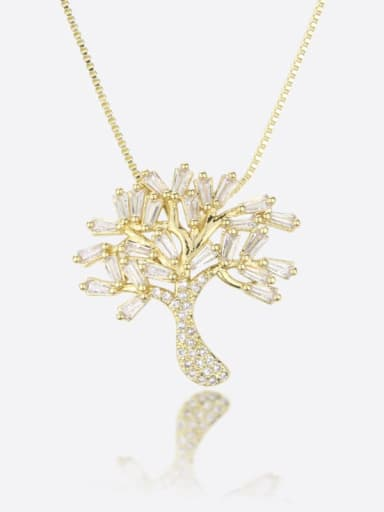 Brass Cubic Zirconia White Tree of Life Statement Regligious Necklace