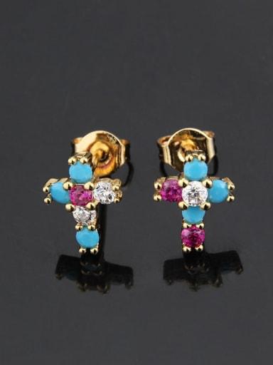Gold plated color zirconium Brass Cubic Zirconia Cross Vintage Stud Earring