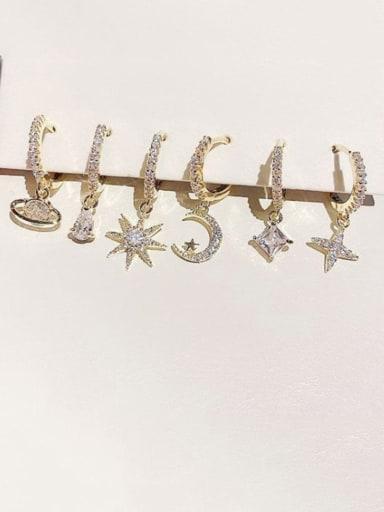 Brass Cubic Zirconia Star Cute Huggie Earring