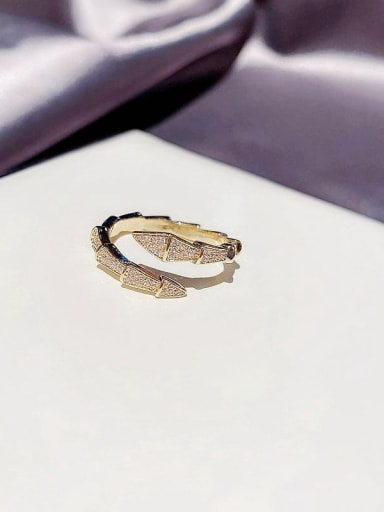 Gold plating Brass Cubic Zirconia Snake Dainty Band Ring