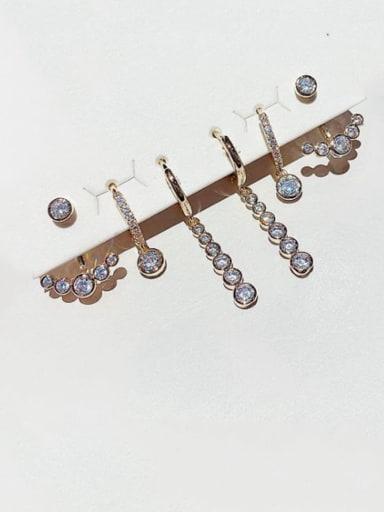 Brass Rhinestone Geometric Dainty Huggie Earring