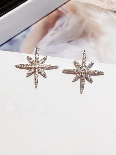 Brass Cubic Zirconia Star Minimalist Stud Earring