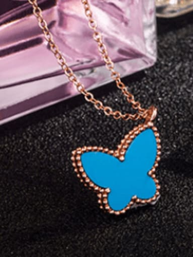 Rose Gold Plated,Blue Shell 925 Sterling Silver Shell Multiple color Butterfly Dainty Necklace