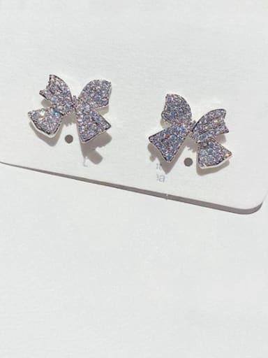 Brass Cubic Zirconia Butterfly Minimalist Stud Earring