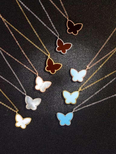 925 Sterling Silver Shell Multiple color Butterfly Dainty Necklace