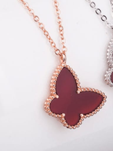 Rose Gold Plated,Red Shell 925 Sterling Silver Shell Multiple color Butterfly Dainty Necklace