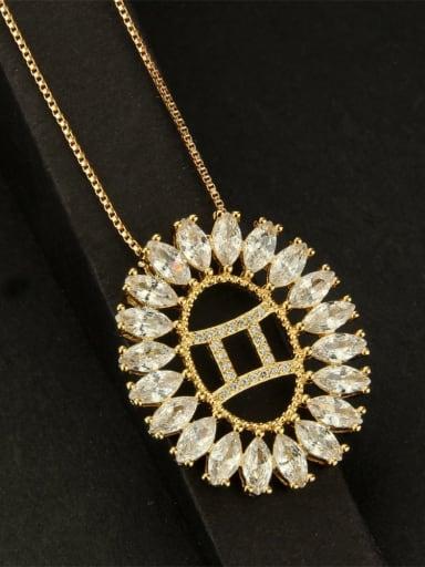 Gemini Stainless steel Cubic Zirconia White Zodiac Initials Necklace