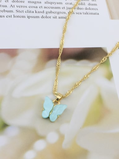 Blue Alloy Shell Acrylic Butterfly Trend Necklace