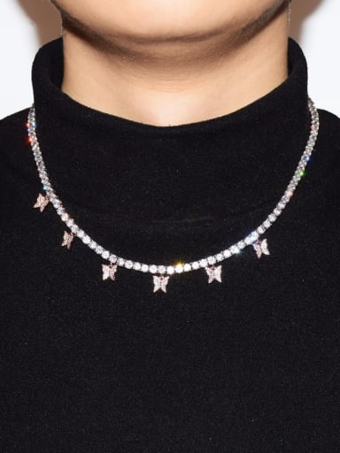 Copper AAAAA+ Cubic Zirconia White Hip Hop Butterfly choker necklace