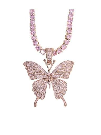 18K Rose Gold Plated Brass 4A Cubic Zirconia Butterfly Hip Hop Cuban Tenns Necklace