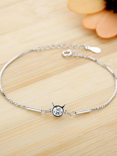 Taurus 925 Sterling Silver Cubic Zirconia White Heart Dainty Bracelet