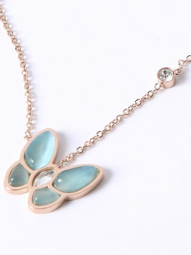 18K Rose Gold Plated,Blue Butterfly Titanium Shell Butterfly Trend Multiple color Necklace
