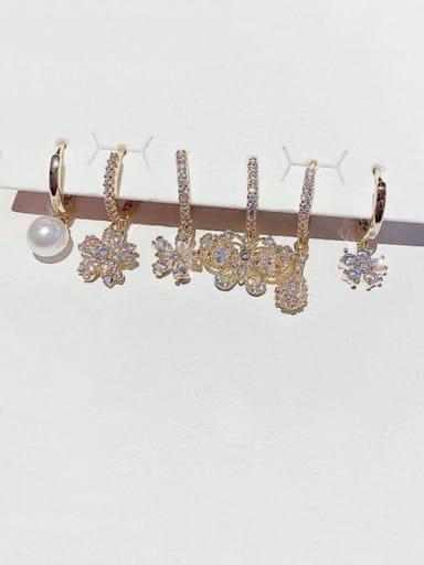 Brass Rhinestone Flower Dainty Huggie Earring