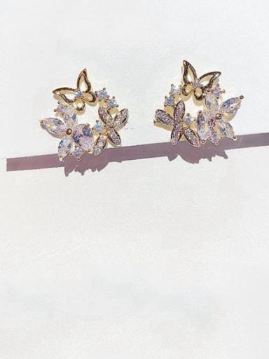 Brass Cubic Zirconia Flower Dainty Stud Earring