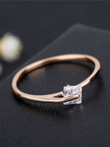 Brass Cubic Zirconia Geometric Minimalist Band Ring