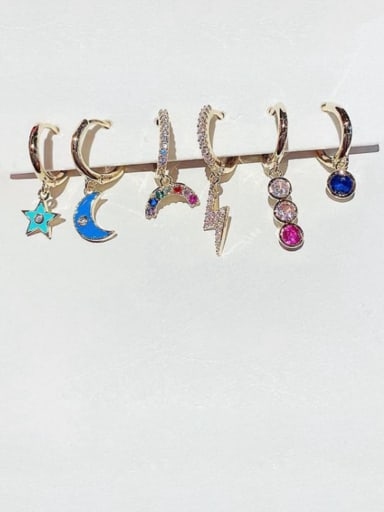 Brass Enamel Moon Dainty Huggie Earring