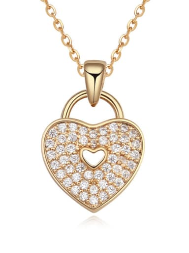 Copper Cubic Zirconia White Heart Trend Necklace