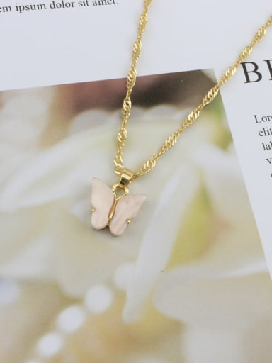 light pink Alloy Shell Acrylic Butterfly Trend Necklace