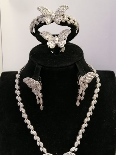 Copper With White Gold Plated Fashion Butterfly 4 Piece Jewelry Set