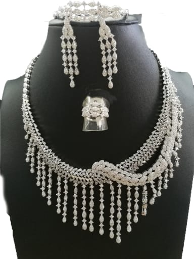 Copper With White Gold Plated Fashion Fringe 4 Piece Jewelry Set