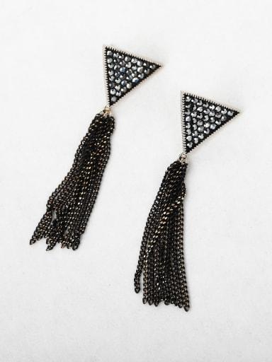 Full Rhinestone triangle tassel Chandelier Earrings