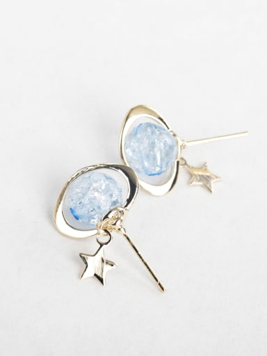 Light blue bead Stud Earrings