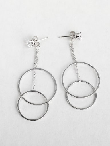 Simple round Copper inlaid platinum Asymmetry Drop Earrings
