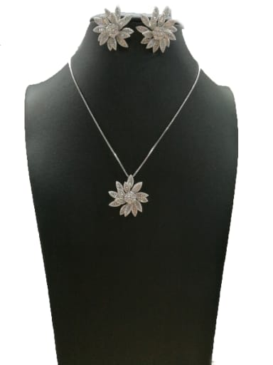 Copper With White Gold Plated Fashion Flower 2 Piece Jewelry Set