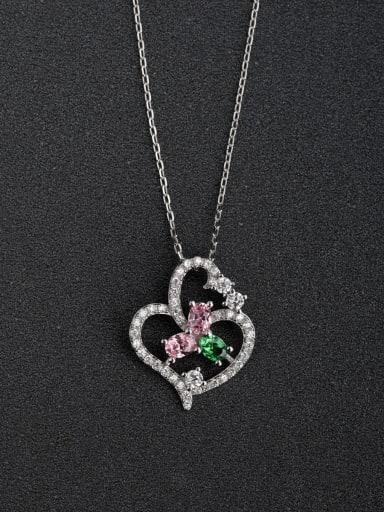 Micro inlay Zircon Fashion Heart Hollow 925 Silver Necklaces