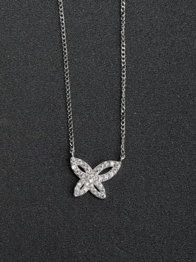 Micro inlay Zircon Hollow Butterfly 925 Silver Necklaces
