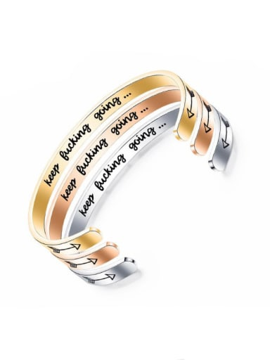Stainless Steel With Gold Plated Trendy  Minimalist Bangles