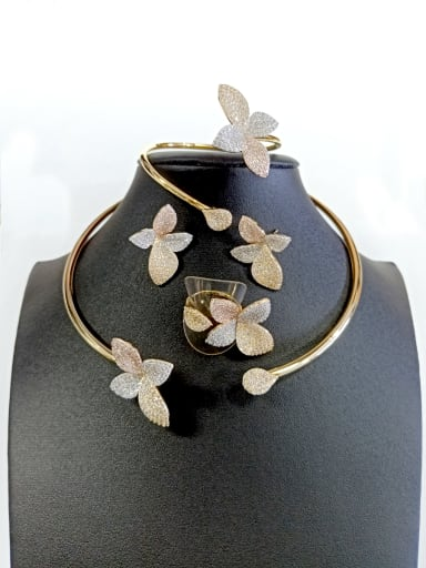 Copper With Gold Plated Trendy Leaf 4 Piece Jewelry Set