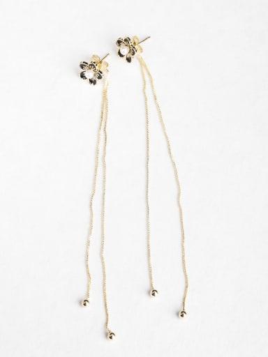 Simple flower Copper inlaid platinum Drop Earrings