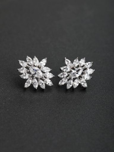 Luxury zircon flower 925 silver Stud earrings