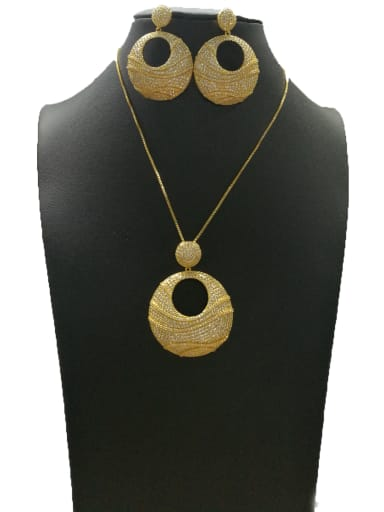 Copper With Gold Plated Classic Round 2 Piece Jewelry Set