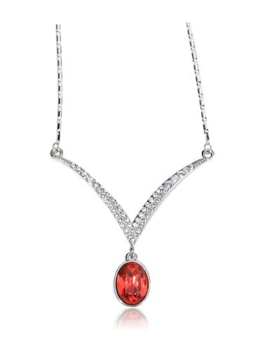 oval V  shape Rhinestone Swarovski element crystal necklace