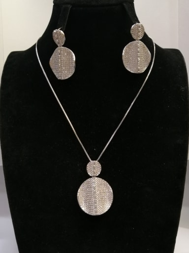 Copper With White Gold Plated Trendy Irregular 2 Piece Jewelry Set